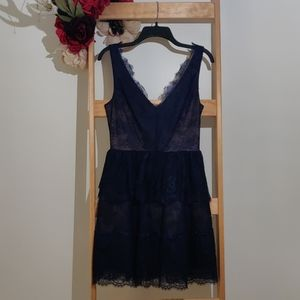 BCBGMaxAzria Willa tiered lace dress, navy